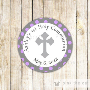 40 Dedication Baptism Favor Label Communion Purple Grey