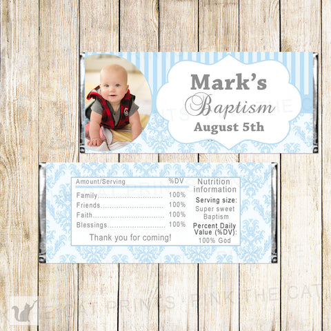 Blue White Boy Baptism Christening Holy Communion Candy Bar Wrapper Label