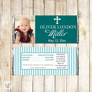 30 candy bar wrappers teal baptism christening with photo