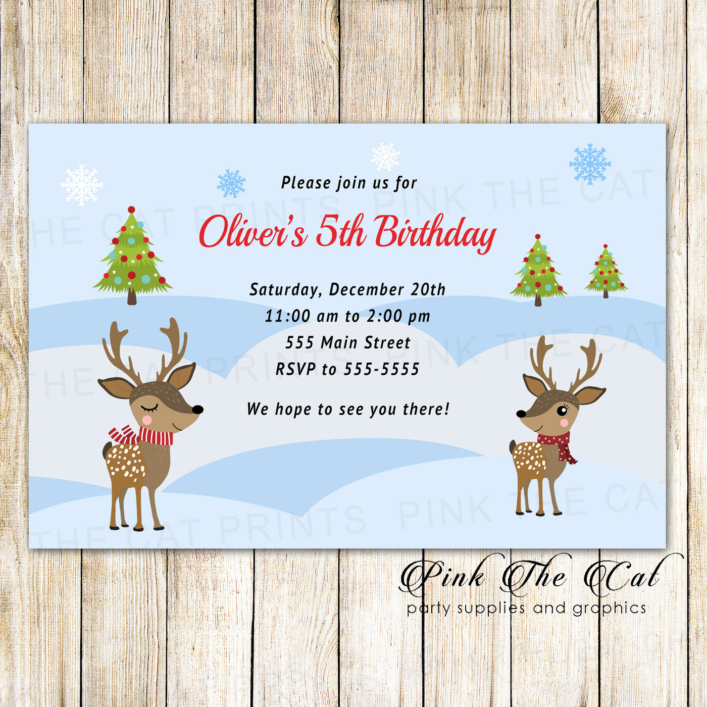 Christmas Birthday Party Invitations.30 Christmas Kids Birthday Party Invitation Raindeer Winter