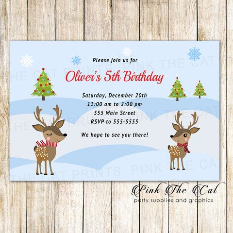 30 Christmas kids birthday party invitation raindeer winter