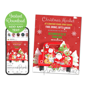 Holiday christmas market flyer printable