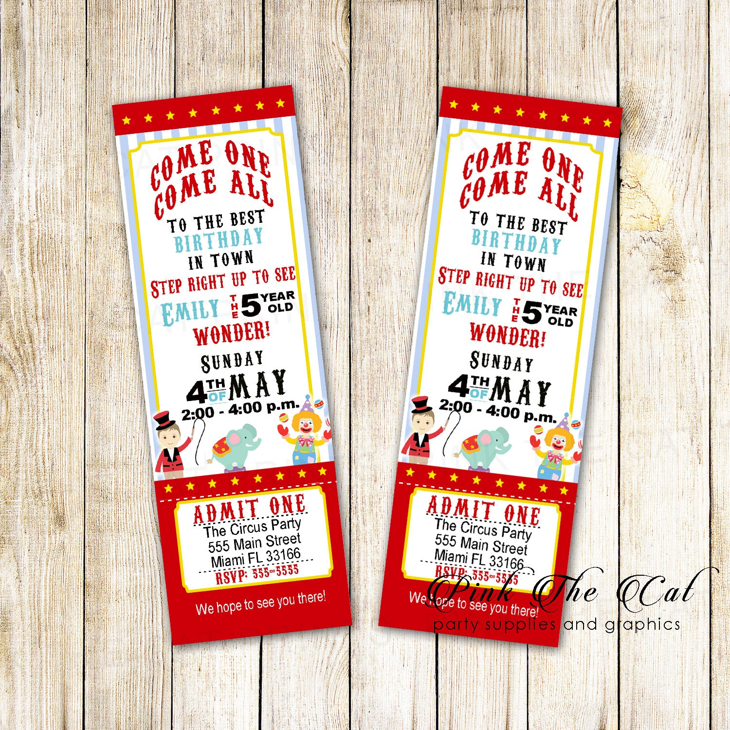 Circus carnival invitation ticket kids birthday printable – Pink The Cat