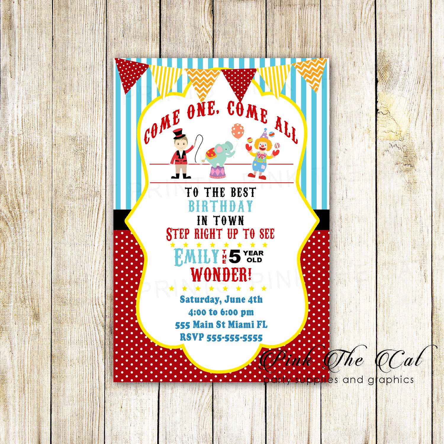 30 Invitations Circus Carnival Kids Birthday Party Cards – Pink The Cat