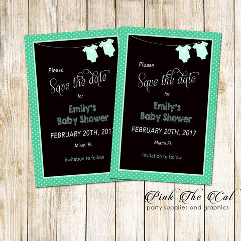 30 Cards Black Mint Clothes Baby Shower Save The Date