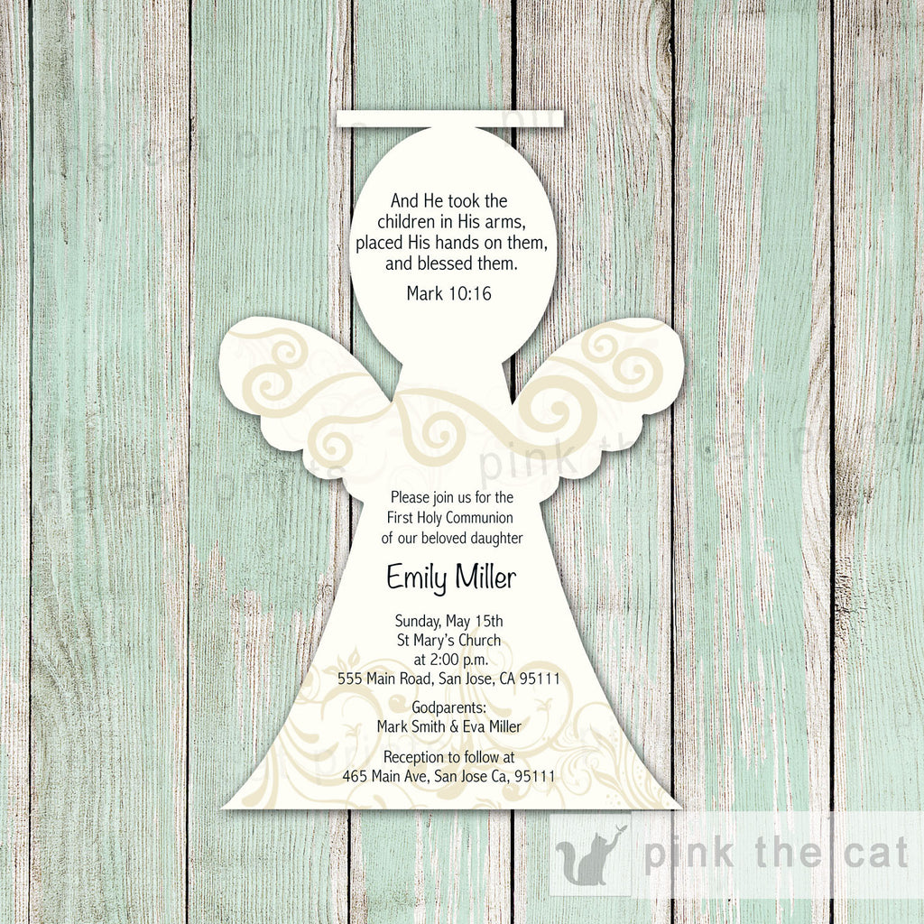 Angel Invitation Girl Baptism Christening Communion Ivory