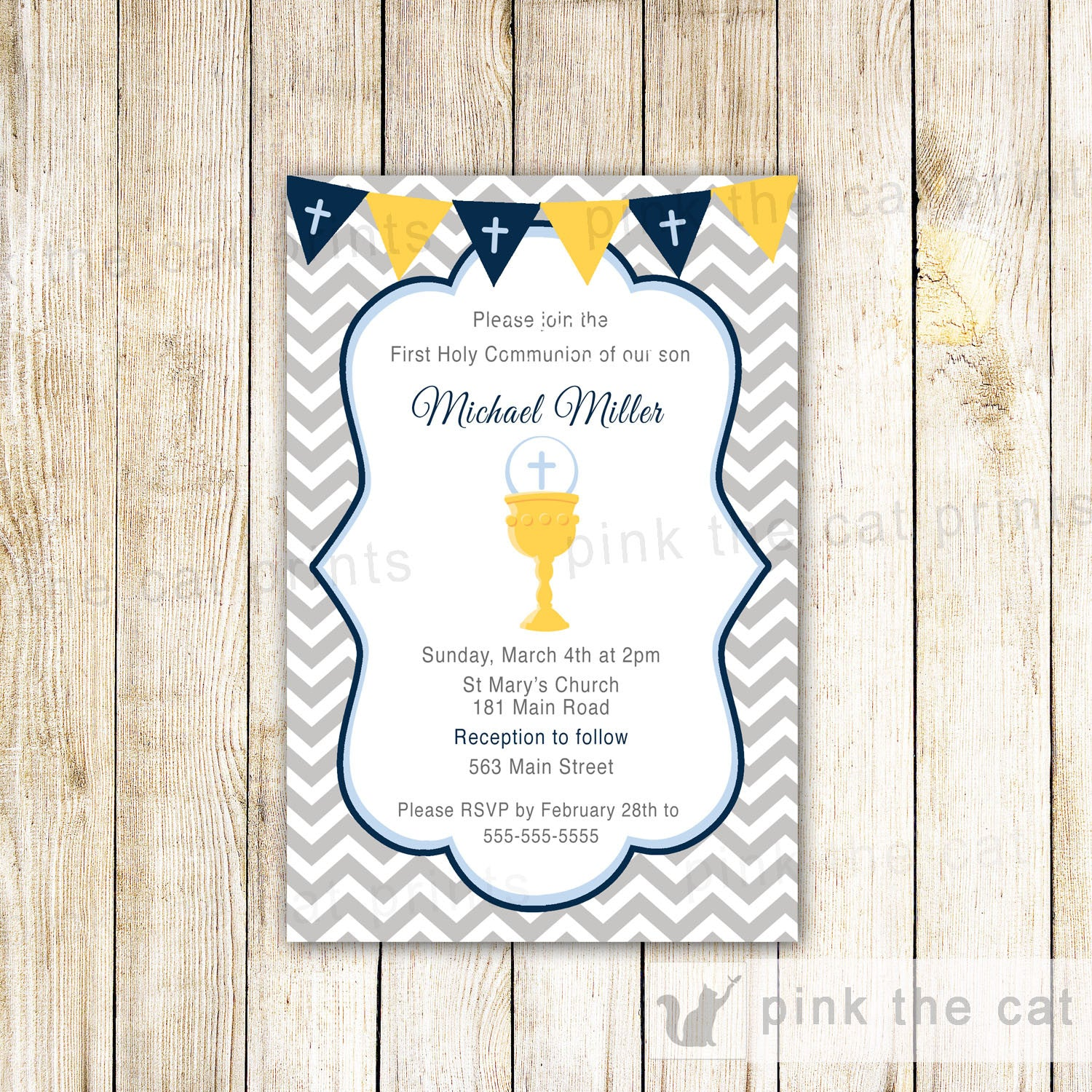Boy 1st holy communion invitation navy blue grey chevron flag banner boy 1st holy communion invitation navy blue grey chevron flag banner chalice solutioingenieria Image collections