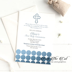 Boy first communion invitations blue dots printable