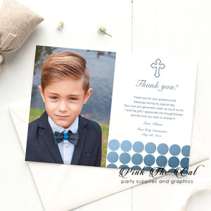 Communion thank you card blue dots printable