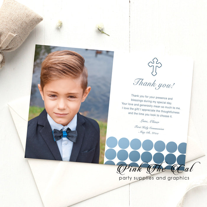 Communion photo thank you card blue dots printable