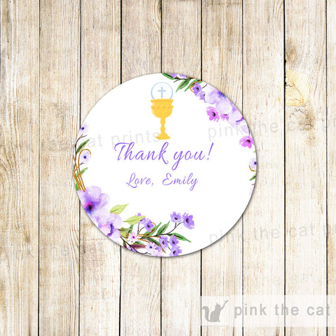 40 Stickers Favor Label Girl Baptism Communion Boho Purple