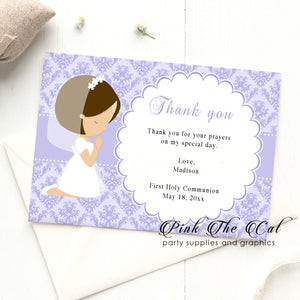 Girl praying first communion thank you card lavender printable