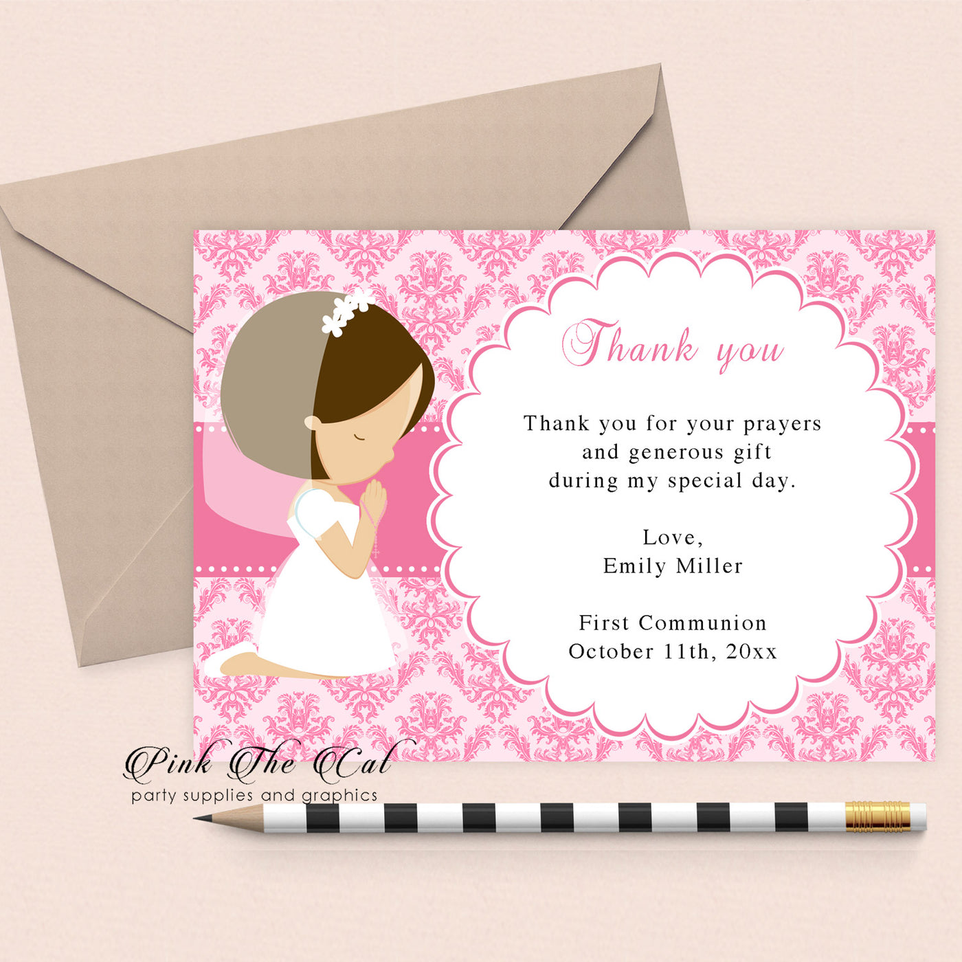 30 Religious Thank You Cards Girl Praying Pink Pink The Cat