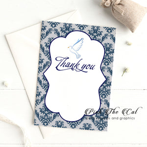 30 Dove confirmation thank you card  for boys navy blue silver
