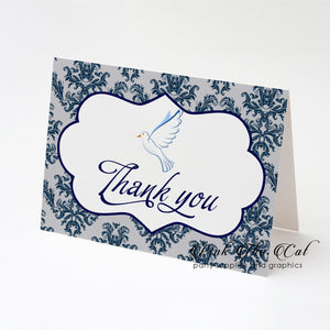 Dove confirmation thank you card folded navy blue silver (set of 30)
