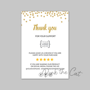 Business thank you card confetti gold