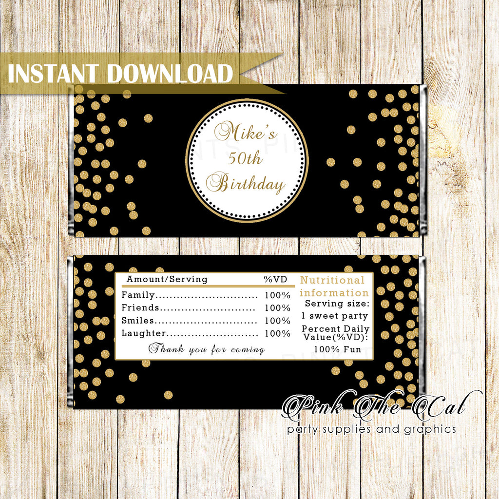 Candy bar wrappers birthday gold black printable
