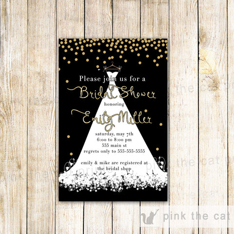 Confetti Bridal Shower Invitation Gold Glitter