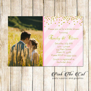 30 invitations wedding bridal shower glitter pink gold phto card