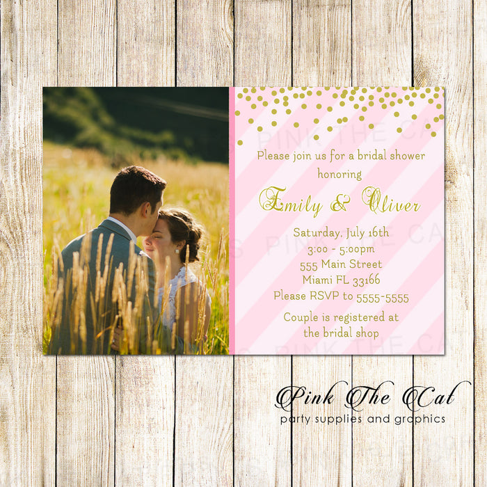30 invitations wedding bridal shower glitter pink gold photo card
