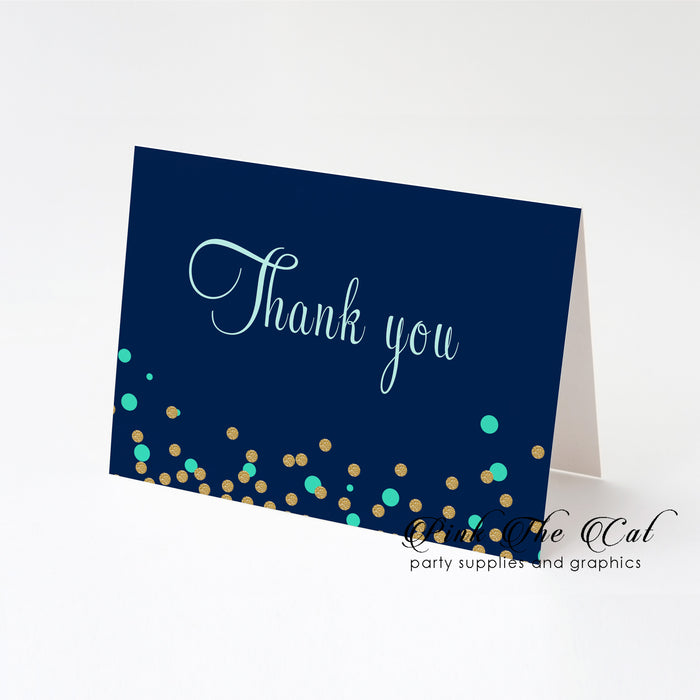 Confetti blue mint thank you card folded (set of 30)