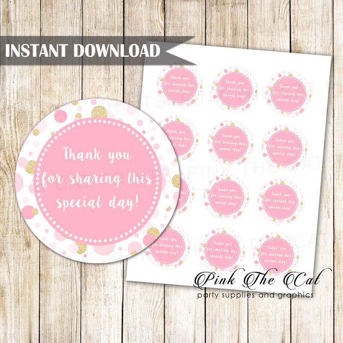 Confetti pink gold favor label printable