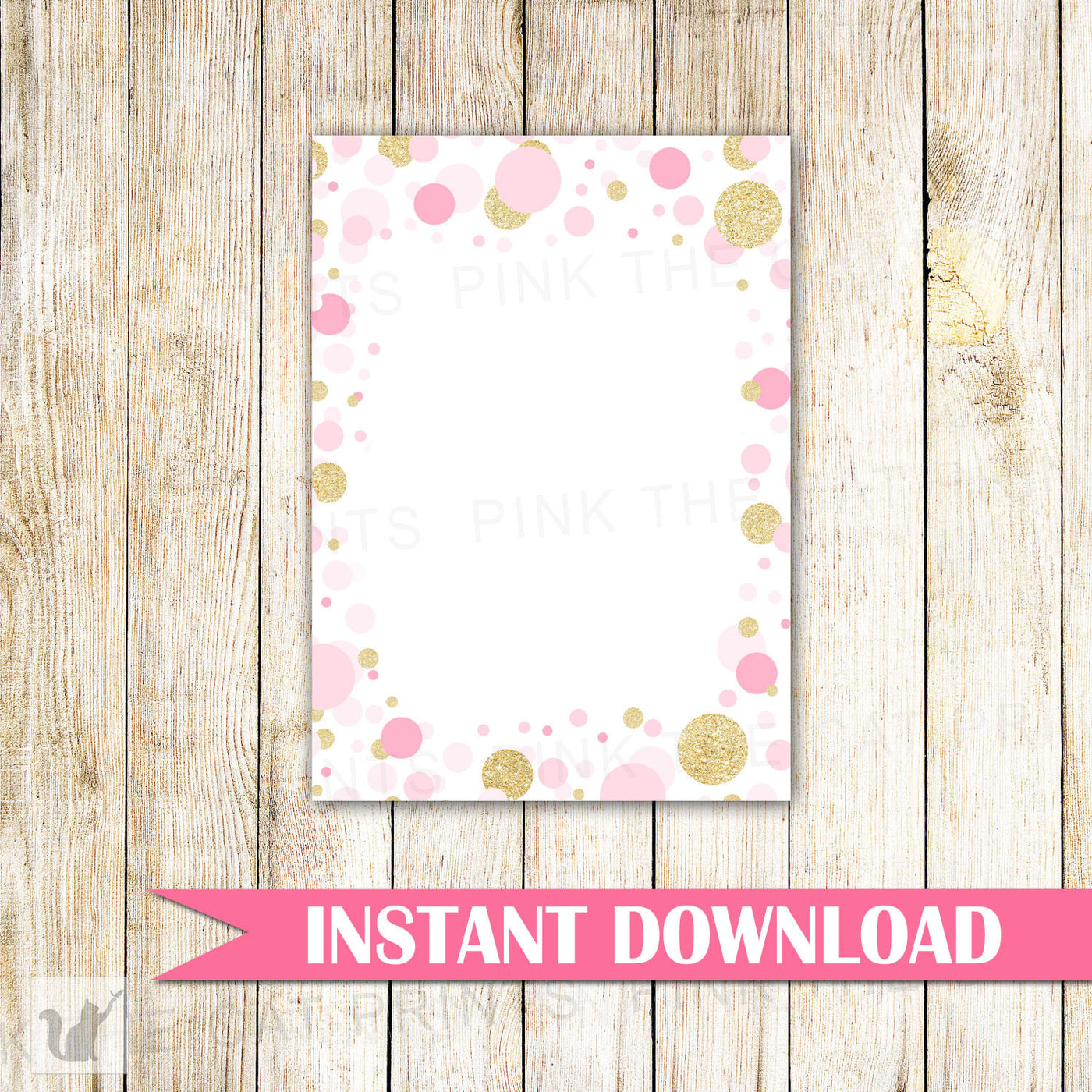 photo relating to Printable Blank Cards called Confetti Blank Card Invitation Thank Oneself Observe Gold Glitter Red