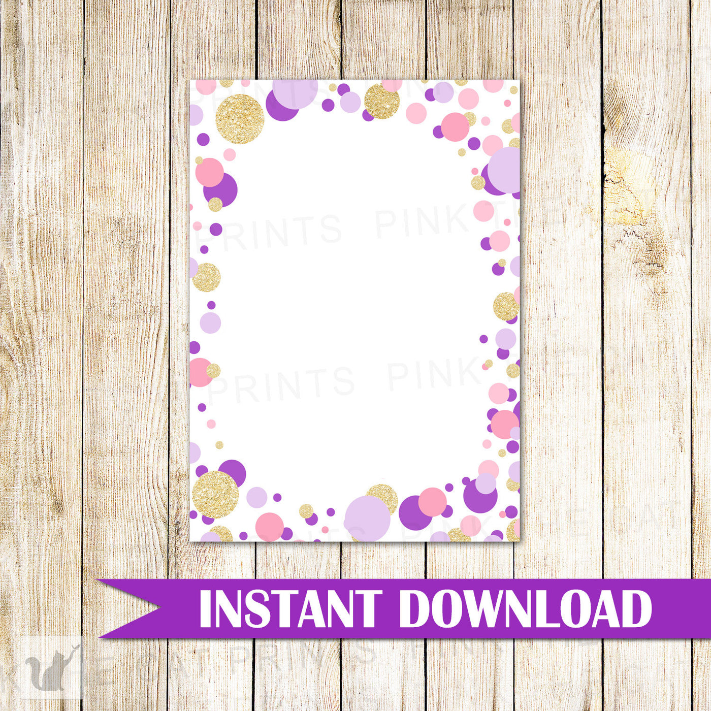 confetti blank card invitation thank you note gold glitter purple