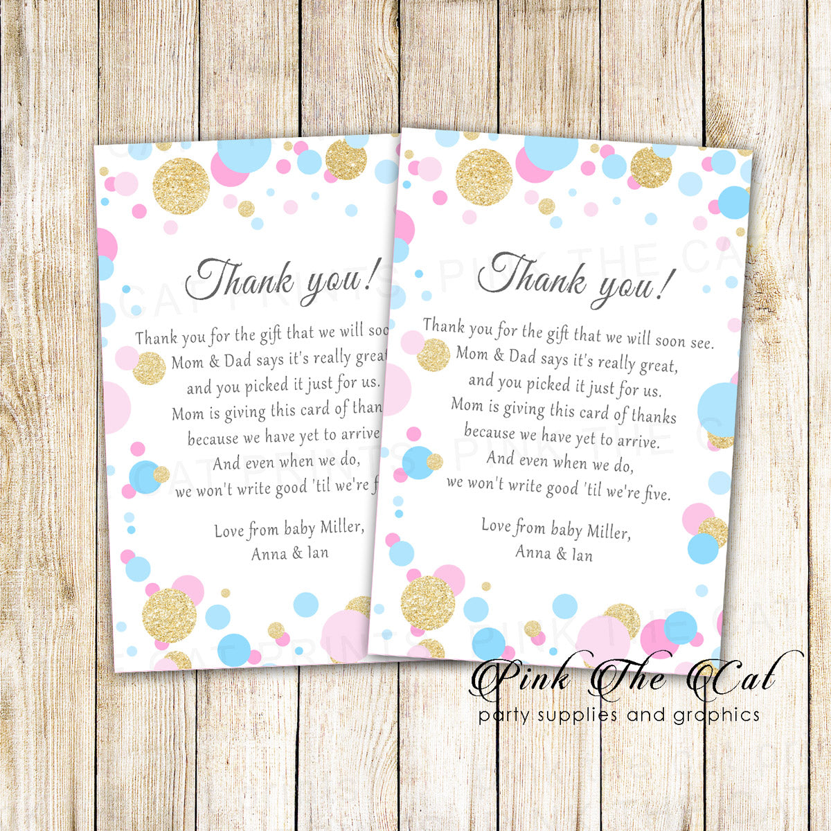 30 thank you cards confetti pink blue gold baby shower girl boy