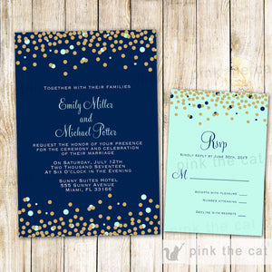 Wedding Invitations & RSVP Cards Confetti Blue Mint
