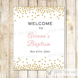 Confetti Welcome Sign Pink Gold