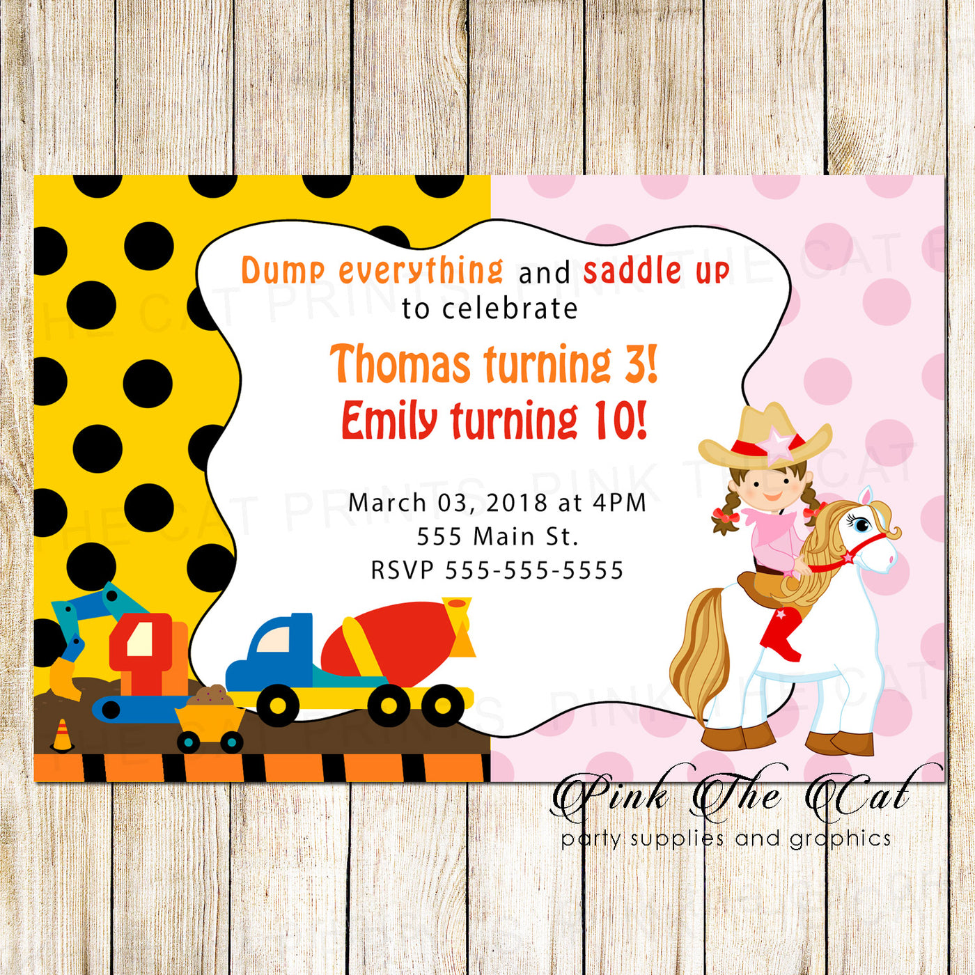 30 Construction Cowgirl Invitation Kids Twins Birthday Party
