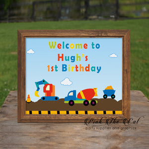 Construction Welcome Sign Boy Birthday Printable