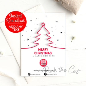 Corporate christmas tree greeting card printable