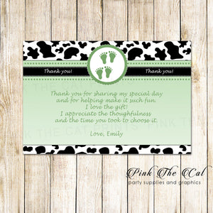 cow baby shower thank you card twins