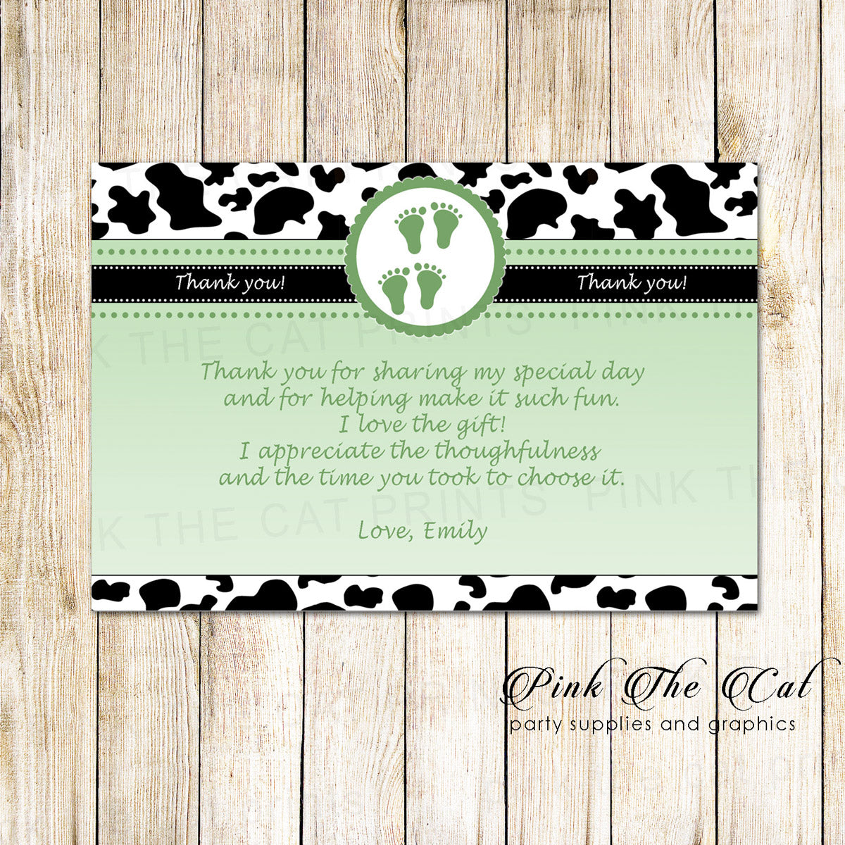 30 Thank You Cards Cow Twins Baby Shower Green Photo Paper Custom