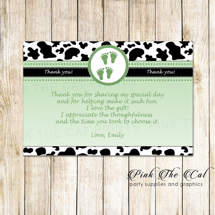 Twins Baby Shower Thank You Card Green Cow Farm Unisex