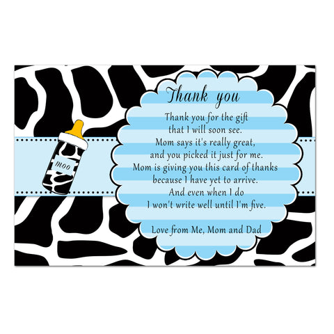 30 Cow thank you card boy baby shower blue black animal print