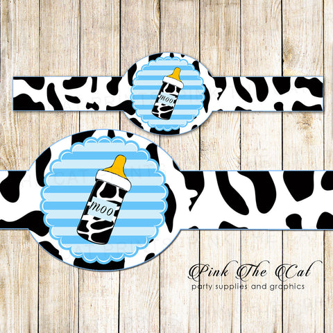 Baby Boy Shower Napkin Wrapper Blue Black Cow Printable