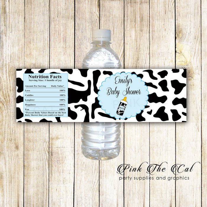 30 Bottle Label Cow Farm Birthday Baby Shower Blue Black
