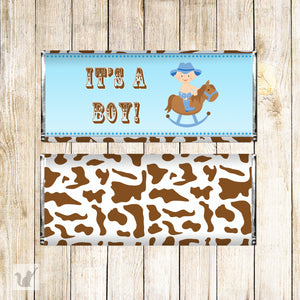 Baby Boy Shower Candy Bar Wrapper Cowboy Blue Brown Printable Label
