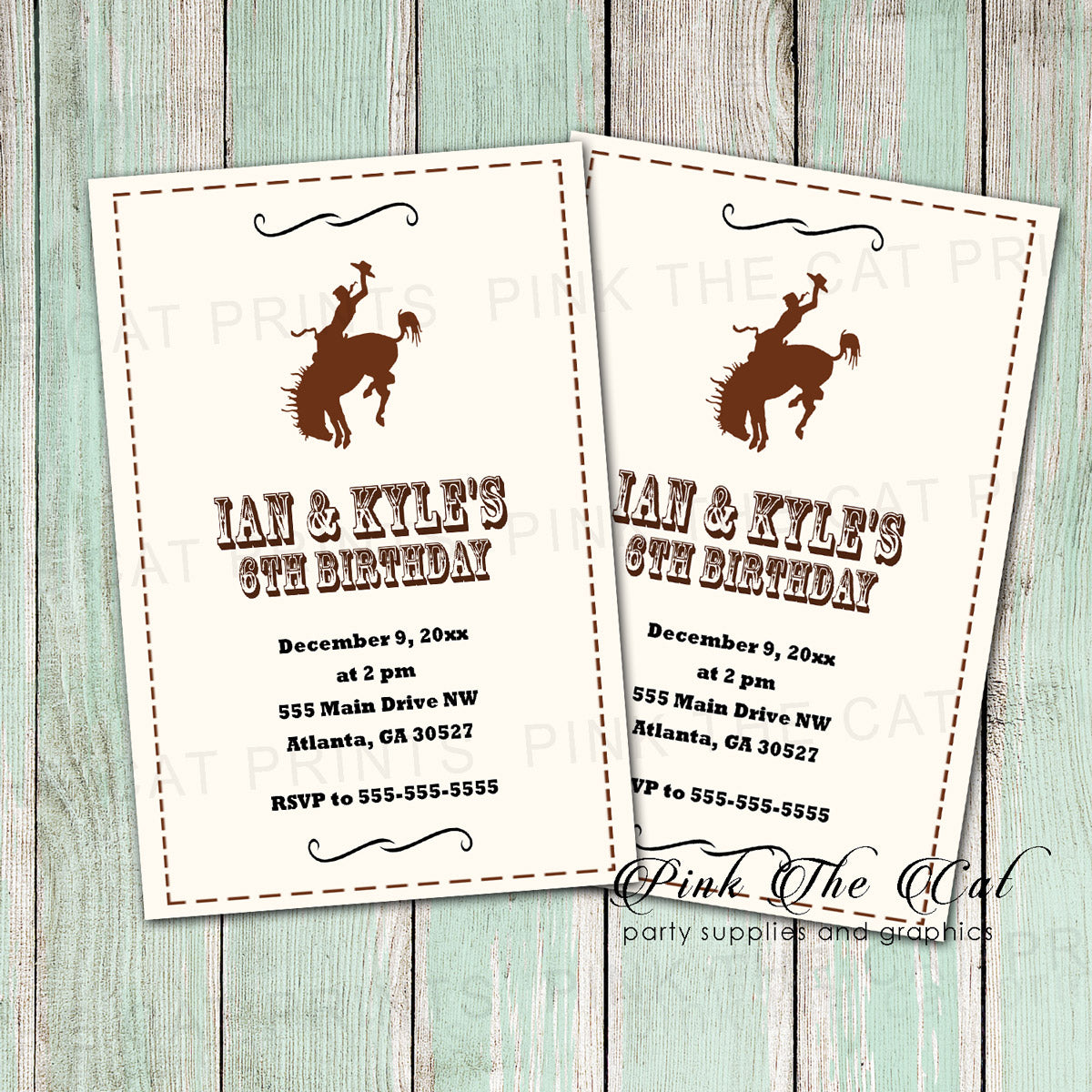 30 Invitations Rodeo Cowboy Birthday Party Rustic Kids Adults Pink The Cat