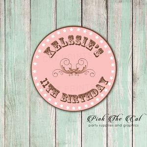 western cowgirl favor label thank you tag
