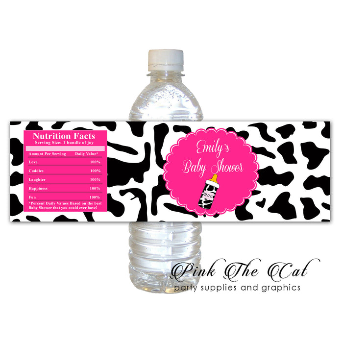 Cow pink black bottle label printable