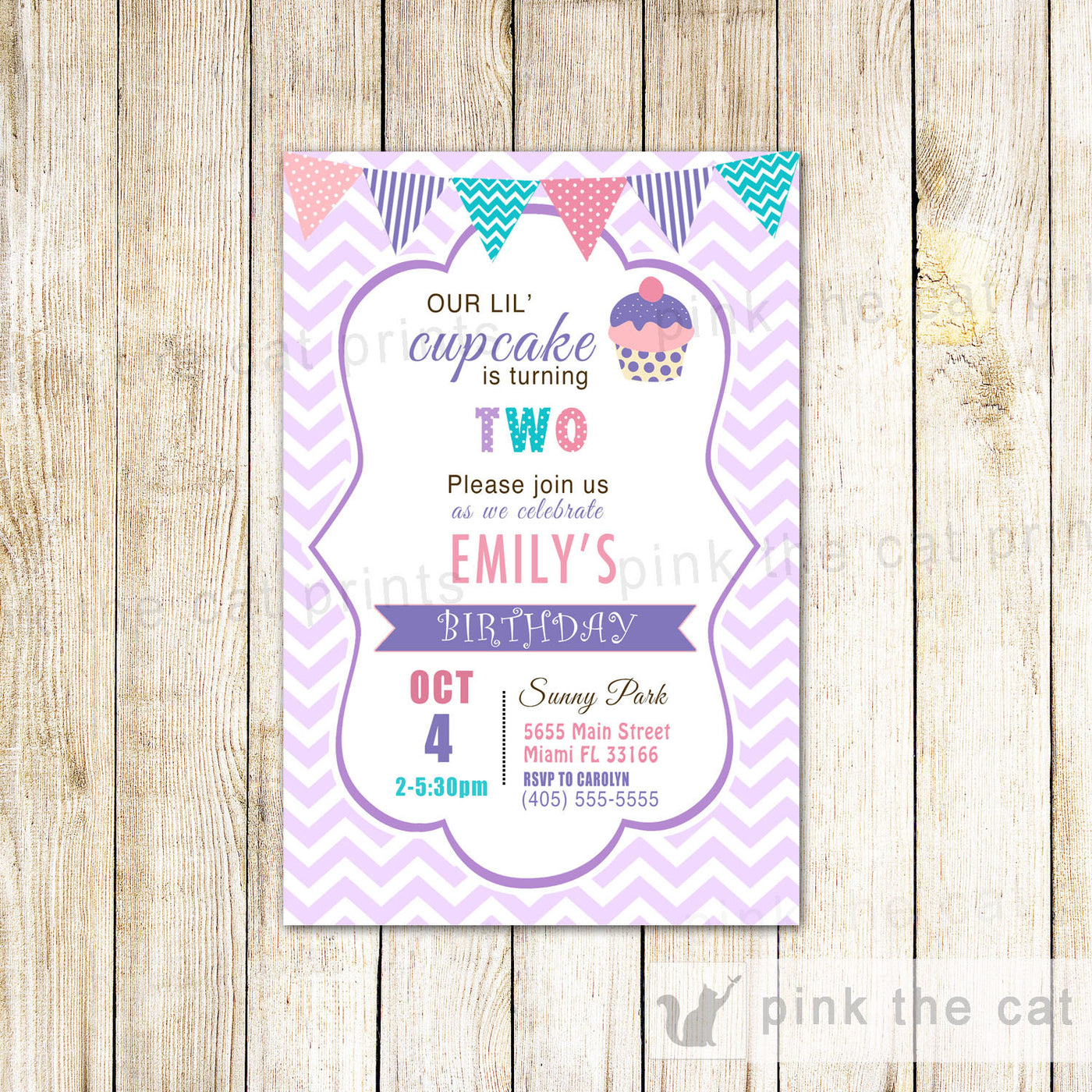 cupcake invitation girl birthday party purple teal baby shower