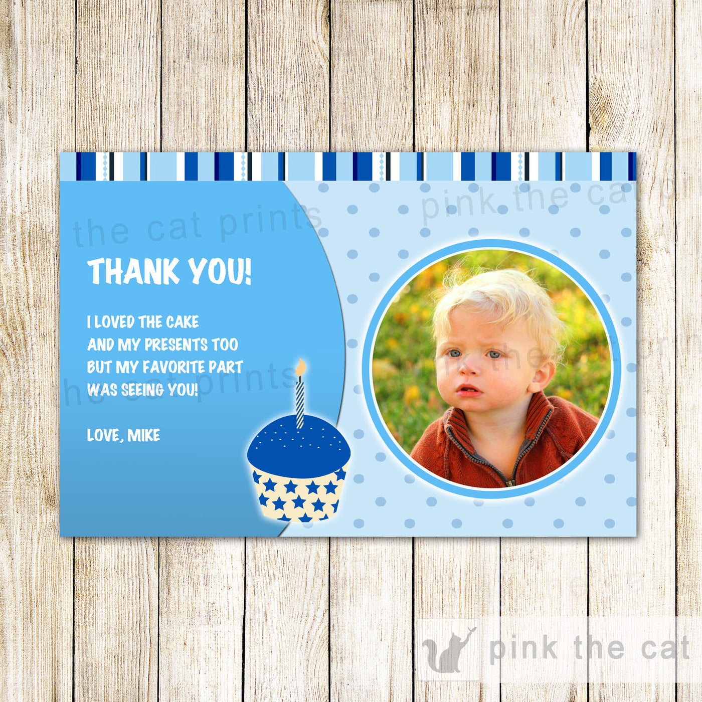 Blue Cupcake Candle Thank You Card Note Boy Birthday Party Photo