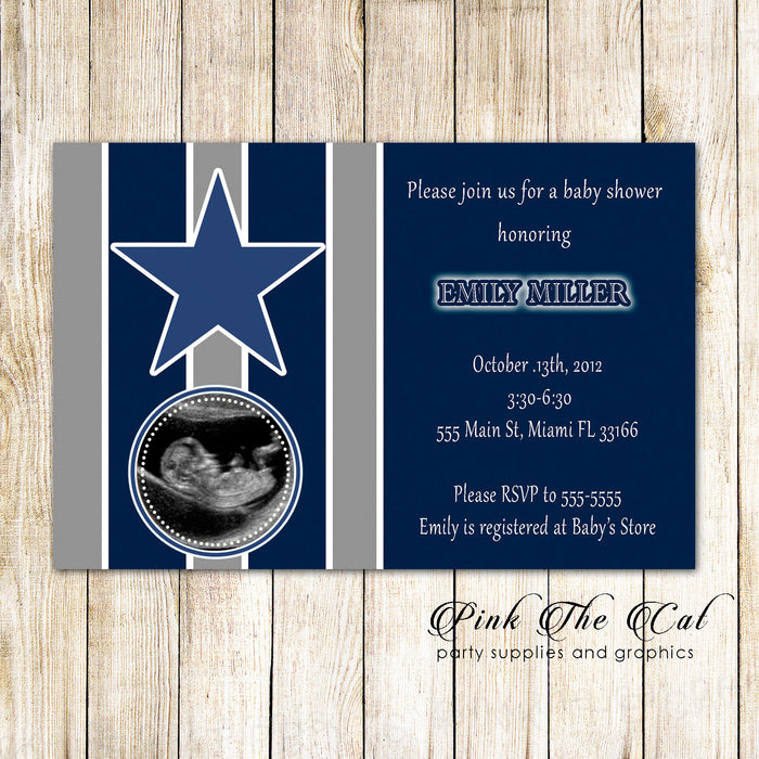Sports Baby Boy Shower Invitation American Football Photo Card