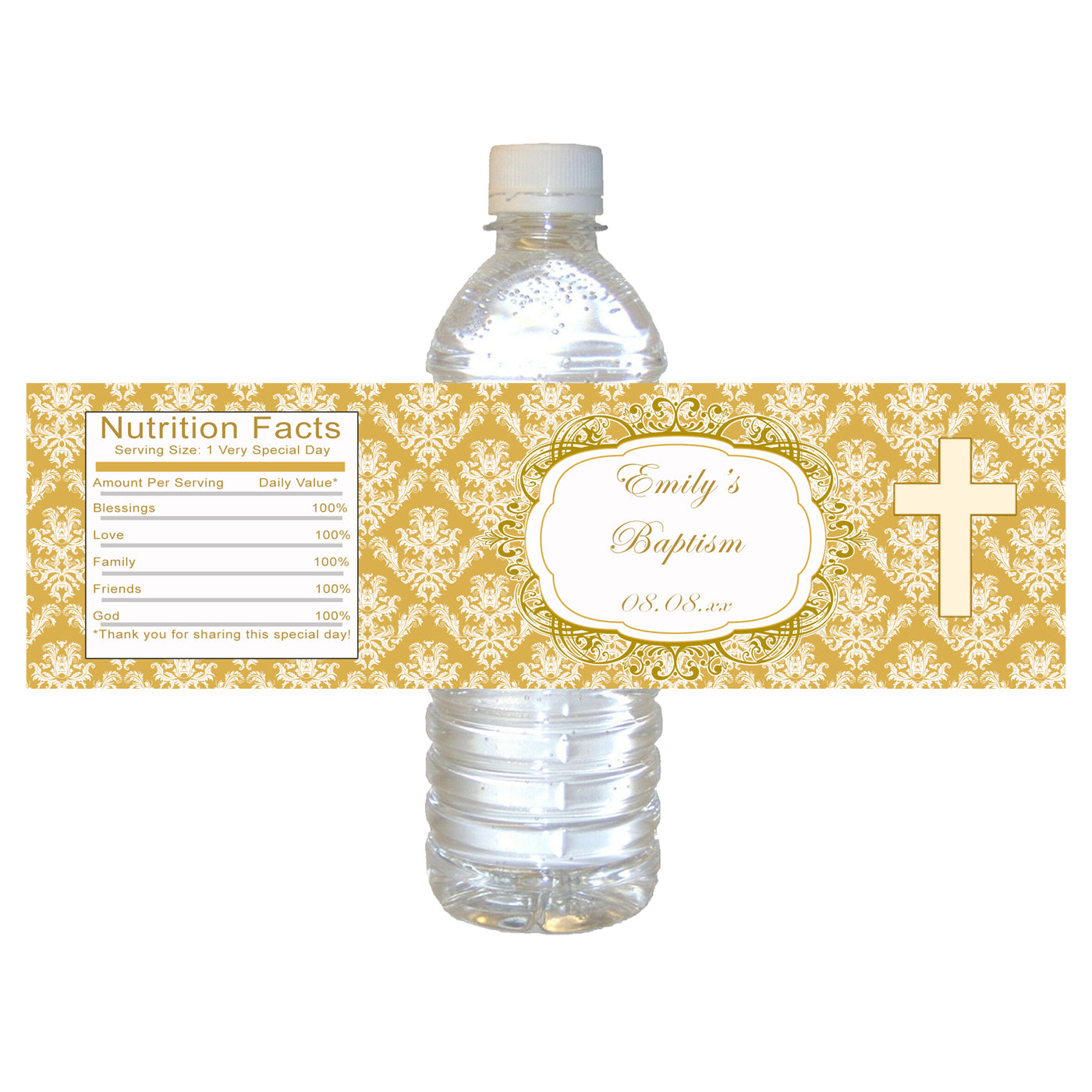 graphic about Printable Bottle Labels titled Bottle labels gold baptism christening woman or boy printable