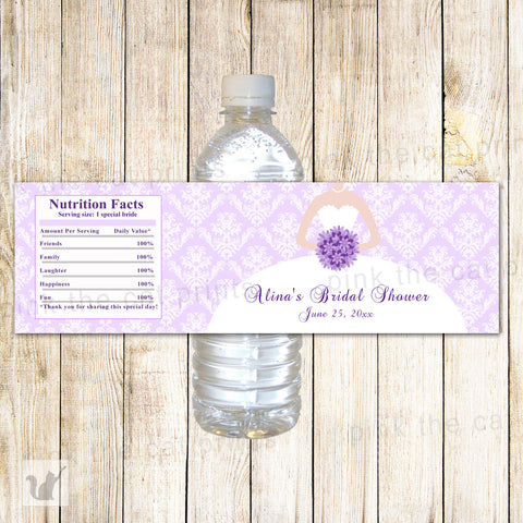 100 Bottle Labels Wedding Bridal Shower Lavender Dress
