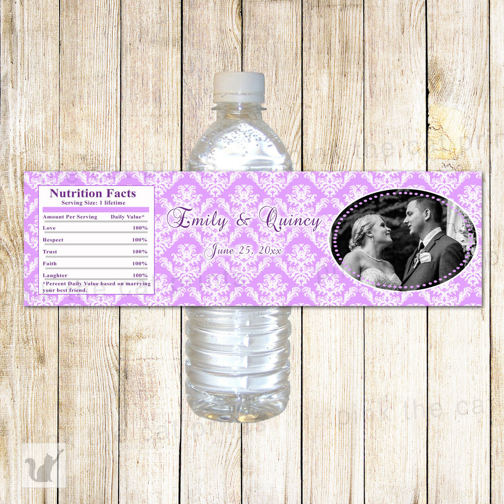 Bottle Labels Wedding Bridal Shower Anniversary Lavender